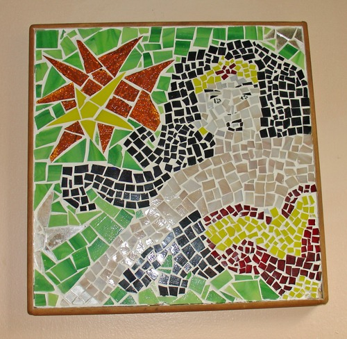 wonder woman mosaic in stained glass