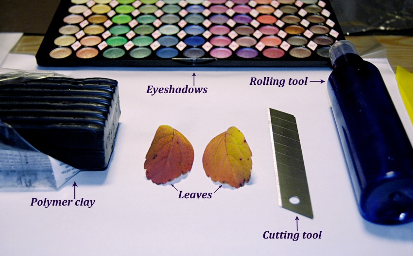 How to make metallic leaf jewelry diy polymer clay tutorial step 1 aloadofball Choice Image